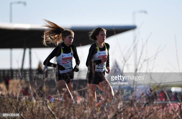 Samorin Slovakia 10 December 2017 Eventual first and second place race finishers Alina Reh right and Konstanze Kloserhalfen of Germany event during...