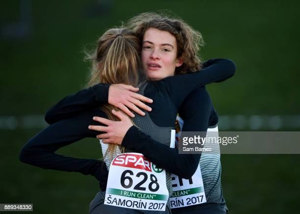 Samorin Slovakia 10 December 2017 First and second place race finishers Alina Reh right and Konstanze Kloserhalfen of Germany celebrate after the U23...
