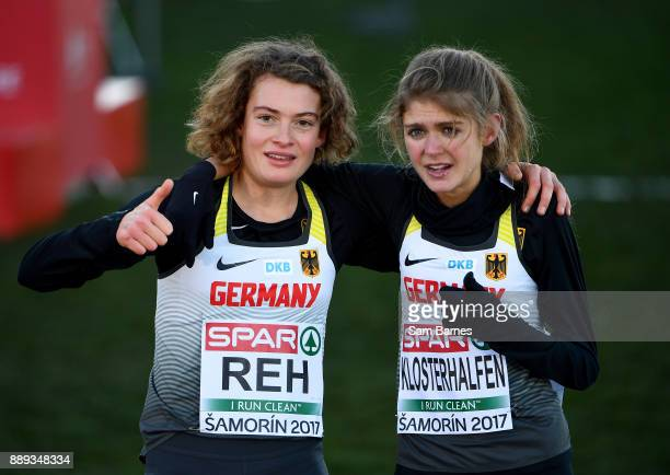 Samorin Slovakia 10 December 2017 First and second place race finishers Alina Reh left and Konstanze Kloserhalfen of Germany celebrate after the U23...