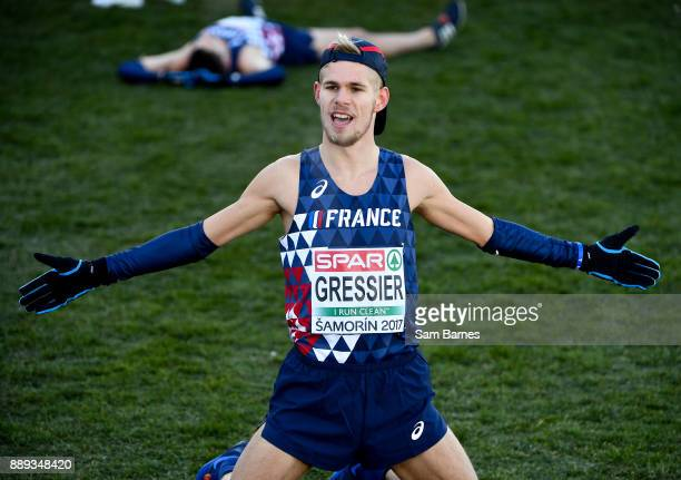 Samorin Slovakia 10 December 2017 Jimmy Gressier of France celebrates after winning the U23 Men's event during the European Cross Country...