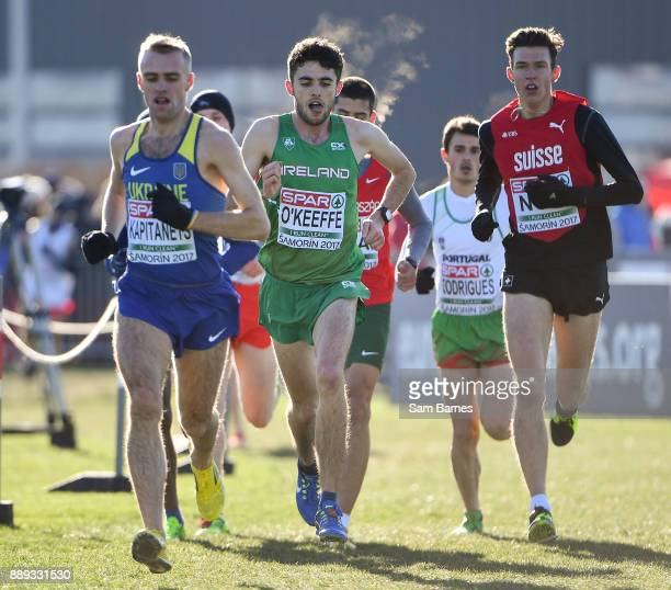 Samorin Slovakia 10 December 2017 Tom O'Keeffe of Ireland centre competing in the U23 Men's event during the European Cross Country Championships...