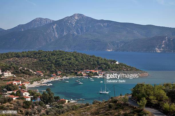 samos with turkey - samos stock photos and pictures