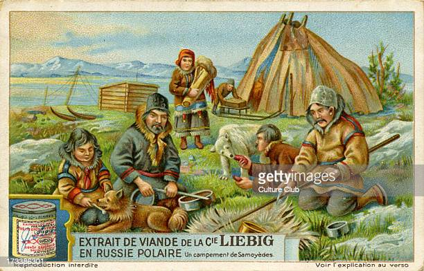 Samoyedic encampment 1928 Linguistic grouping of peoples who speak Samoyedic languages in Siberia Russia Liebig Company collectible card series 'In...