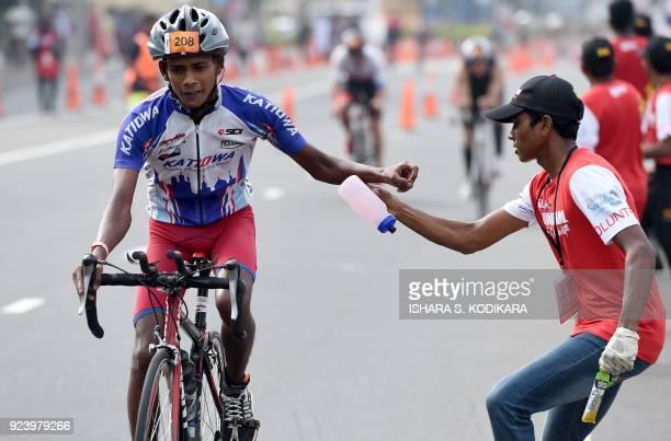 Sampath Samaarasingha of Sri Lanka competes during the Ironman 703 World Championship event in Colombo on February 25 2018 The Ironman 703 Colombo...