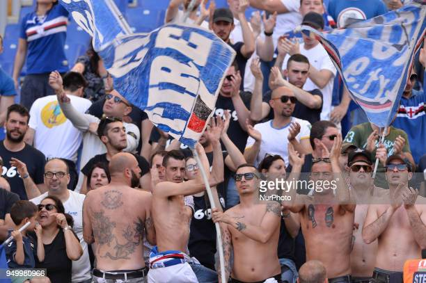 US Sampdora supporters during the Italian Serie A football match between SS Lazio and US Sampdoria at the Olympic Stadium in Rome on april 22 2018