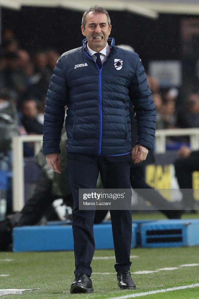 UC Sampdoria coach Marco Giampaolo issues reacts during the serie A match between Atalanta BC and UC Sampdoria at Stadio Atleti Azzurri d'Italia on April 3, 2018 in Bergamo, Italy.
