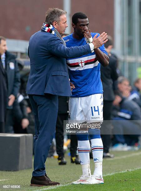 Sampdoria coach Sinisa Mihajlovic issues instructions to his player Pedro Mba Obiang during the Serie A match betweeen UC Sampdoria and Udinese...