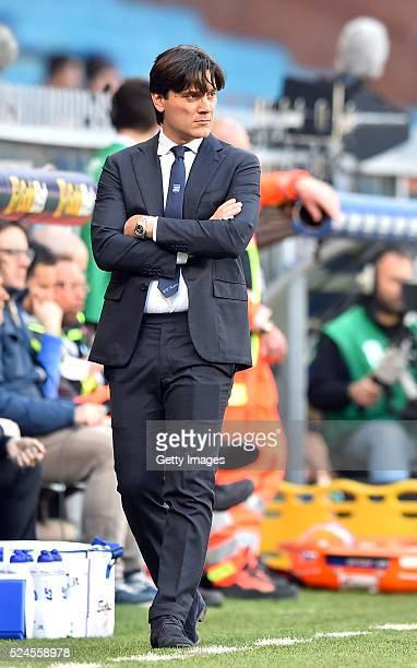 UC Sampdoria coach Vincenzo Montella looks on during the Serie A match between UC Sampdoria and SS Lazio at Stadio Luigi Ferraris on April 24 2016 in...