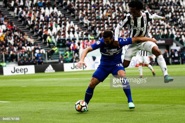 Sampdoria defender Matias Silvestre fights for the ball against Juventus midfielder Juan Cuadrado during the Serie A football match n32 Juventus and...