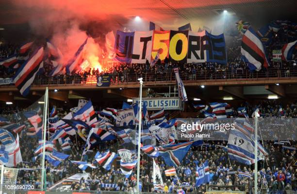 Sampdoria Fans cheer for their team during the Serie A match between UC Sampdoria and Udinese at Stadio Luigi Ferraris on January 26 2019 in Genoa...