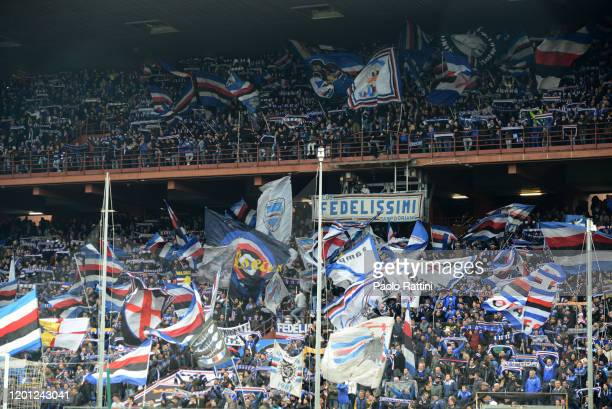 Sampdoria fans during the Serie A match between UC Sampdoria and ACF Fiorentina at Stadio Luigi Ferraris on February 16 2020 in Genoa Italy