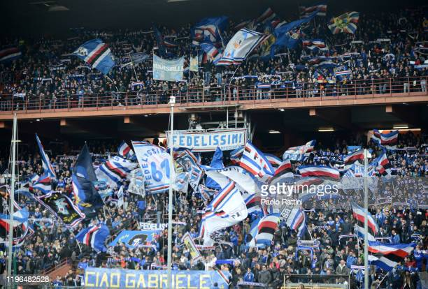 Sampdoria fans during the Serie A match between UC Sampdoria and US Sassuolo at Stadio Luigi Ferraris on January 26, 2020 in Genoa, Italy.