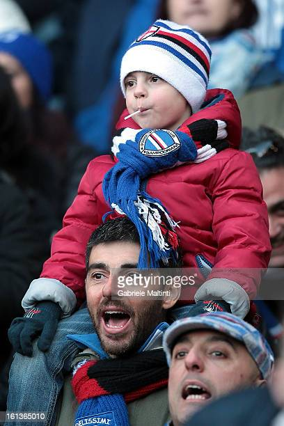 Sampdoria fans look on during the Serie A match between UC Sampdoria and AS Roma at Stadio Luigi Ferraris on February 10 2013 in Genoa Italy