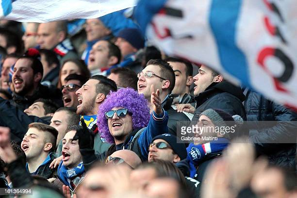 Sampdoria fans show their support during the Serie A match between UC Sampdoria and AS Roma at Stadio Luigi Ferraris on February 10 2013 in Genoa...