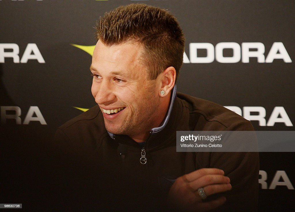 UC Sampdoria forward Antonio Cassano attends the Diadora Press Conference held at Diadora Store on April 23, 2010 in Milan, Italy.