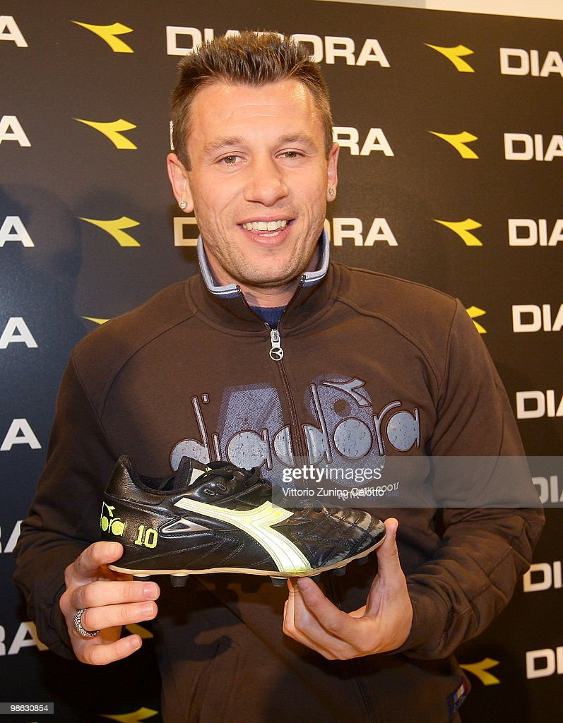 UC Sampdoria forward Antonio Cassano poses during the Diadora Press Conference held at Diadora Store on April 23, 2010 in Milan, Italy.
