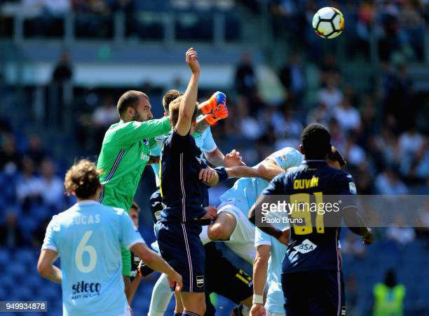 Sampdoria goalkeeper Emiliano Viviano in action during the serie A match between SS Lazio and UC Sampdoria at Stadio Olimpico on April 22 2018 in...