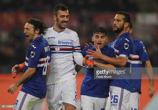 Sampdoria goalkeeper Emiliano Viviano with his teammates celebrates after saving the penalty during the Serie A match between AS Roma and UC...