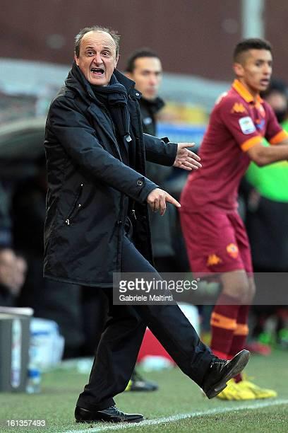 Sampdoria head coach Delio Rossi gestures during the Serie A match between UC Sampdoria and AS Roma at Stadio Luigi Ferraris on February 10 2013 in...