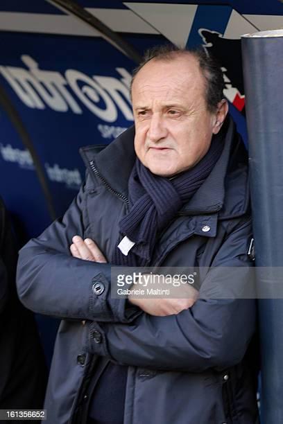 Sampdoria head coach Delio Rossi looks during the Serie A match between UC Sampdoria and AS Roma at Stadio Luigi Ferraris on February 10 2013 in...