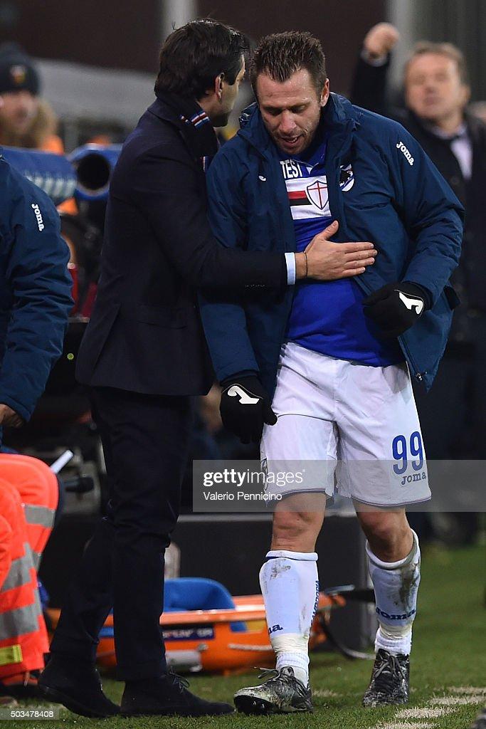 UC Sampdoria head coach Vincenzo Montella congratulates with Antonio Cassano during the Serie A match between Genoa CFC and UC Sampdoria at Stadio Luigi Ferraris on January 5, 2016 in Genoa, Italy.