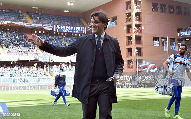 Sampdoria head coach Vincenzo Montella gestures before the Serie A match between UC Sampdoria and Udinese Calcio at Stadio Luigi Ferraris on April 10...