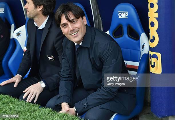 Sampdoria head coach Vincenzo Montella looks on before the Serie A match between UC Sampdoria and Udinese Calcio at Stadio Luigi Ferraris on April 10...