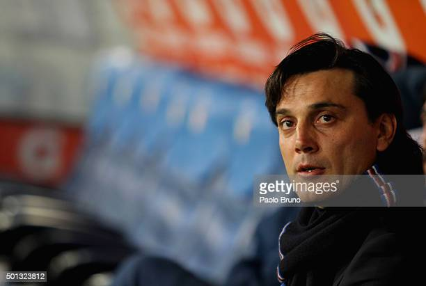 Sampdoria head coach Vincenzo Montella looks on during the Serie A match betweeen SS Lazio and UC Sampdoria at Stadio Olimpico on December 14 2015 in...