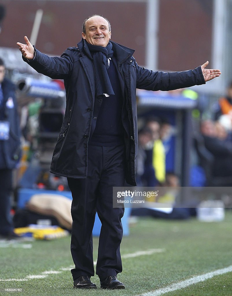 UC Sampdoria manager Delio Rossi gestures during the Serie A match between UC Sampdoria and Parma FC at Stadio Luigi Ferraris on March 3, 2013 in Genoa, Italy.