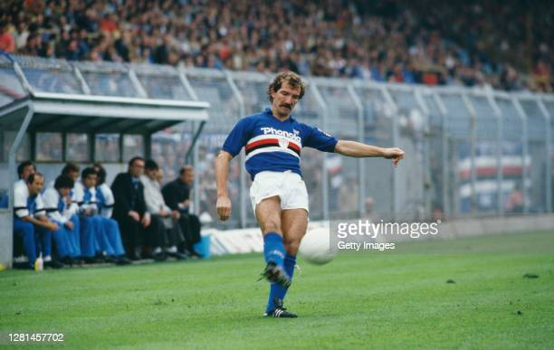 Sampdoria player Graeme Souness pictured in action during a match against Ascoli in a Serie A match circa August 1984 in Genoa, Italy.