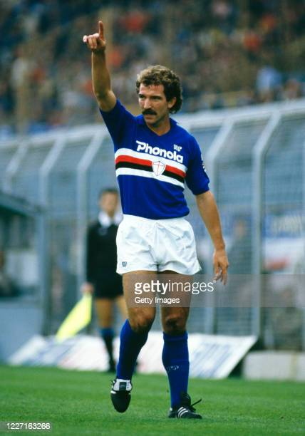 Sampdoria player Graeme Souness pictured reacting during a match against Ascoli in Serie A match circa August 1984 in Genoa Italy