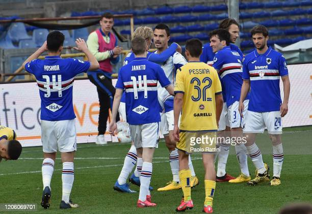 Sampdoria players at the end of Serie A match between UC Sampdoria and Hellas Verona at Stadio Luigi Ferraris on March 8 2020 in Genoa Italy