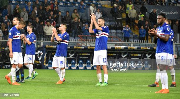 Sampdoria players at the end of the serie A match between UC Sampdoria and SSC Napoli at Stadio Luigi Ferraris on May 13 2018 in Genoa Italy