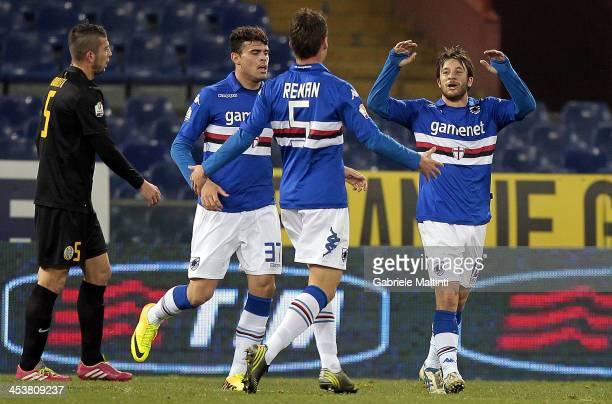 Sampdoria players celebrate a goal scored by Gianluca Sansone during the Tim Cup match between UC Sampdoria and Hellas Verona FC at Stadio Luigi...