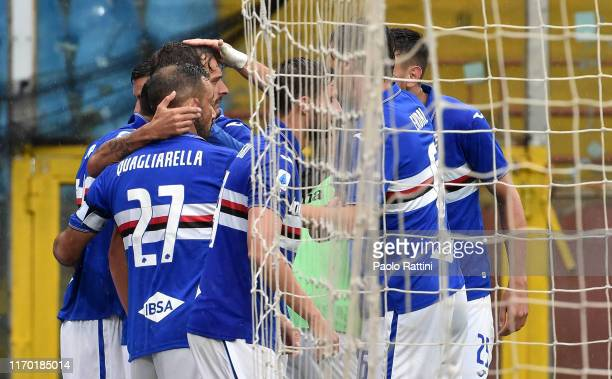 Sampdoria players celebrate after a goal by Manolo Gabbiadini during the Serie A match between UC Sampdoria and Torino FC at Stadio Luigi Ferraris on...