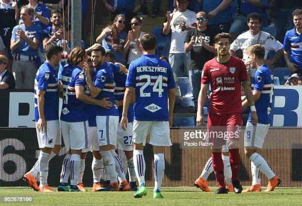 Sampdoria players celebrate after Fabio Quagliarella scores the second goal during the serie A match between UC Sampdoria and Cagliari Calcio at...