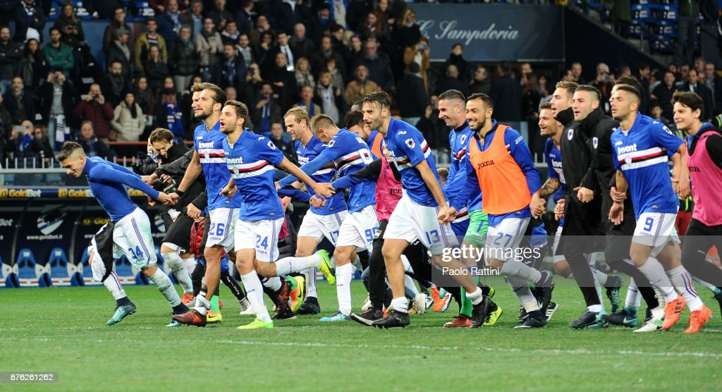 Sampdoria players celebrate at the end of Serie A match between UC Sampdoria and Juventus at Stadio Luigi Ferraris on November 19, 2017 in Genoa, Italy.