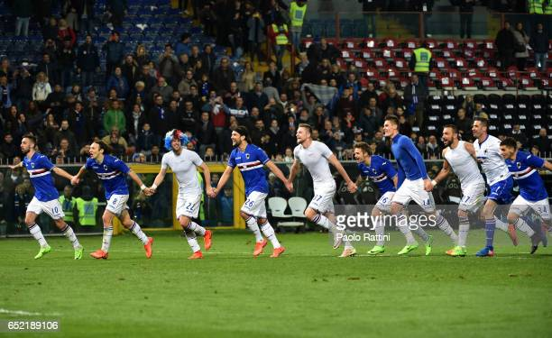 Sampdoria players celebrate at the end of the Serie A match between Genoa CFC and UC Sampdoria at Stadio Luigi Ferraris on March 11 2017 in Genoa...