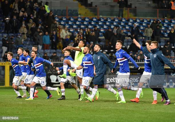 Sampdoria players celebrates at the end of Serie A match between UC Sampdoria andv Bologna FC at Stadio Luigi Ferraris on February 12 2017 in Genoa...