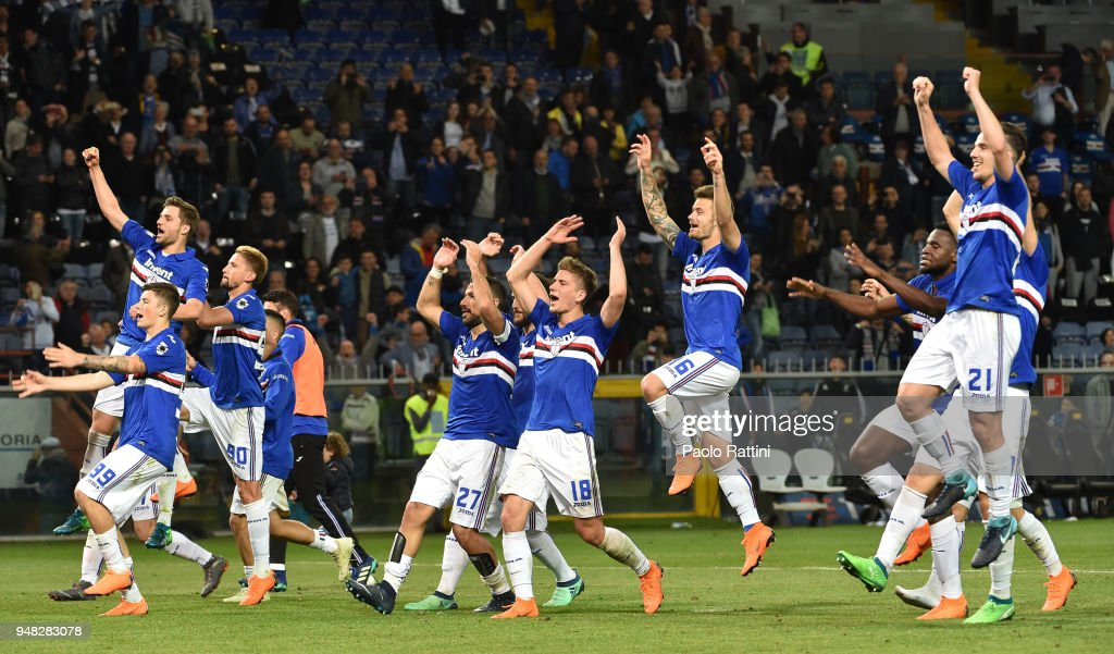 Sampdoria players happy at the end of the serie A match between UC Sampdoria and Bologna FC at Stadio Luigi Ferraris on April 18, 2018 in Genoa, Italy.
