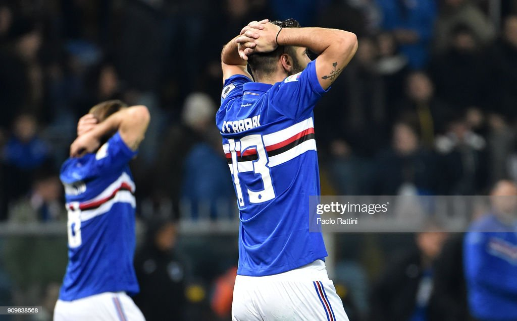 Sampdoria players react at the end of the Serie A match between UC Sampdoria and AS Roma on January 24, 2018 in Genoa, Italy.