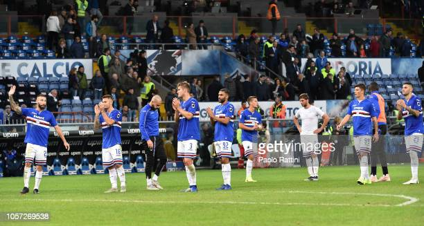 Sampdoria players show disappointment at the end of Serie A match between UC Sampdoria and Torino FC at Stadio Luigi Ferraris on November 4 2018 in...