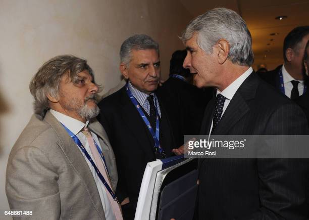 UC Sampdoria President Massimo Ferrero and Andrea Abbodi attend the Italian Football Federation new president elections on March 6 2017 in Rome Italy