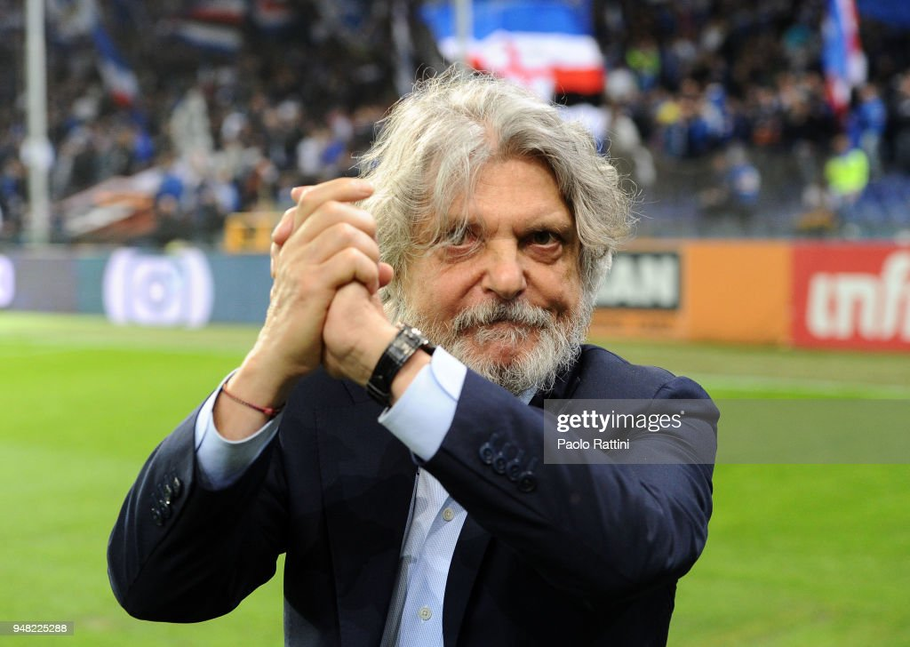 Sampdoria President Massimo Ferrero during the serie A match between UC Sampdoria and Bologna FC at Stadio Luigi Ferraris on April 18, 2018 in Genoa, Italy.