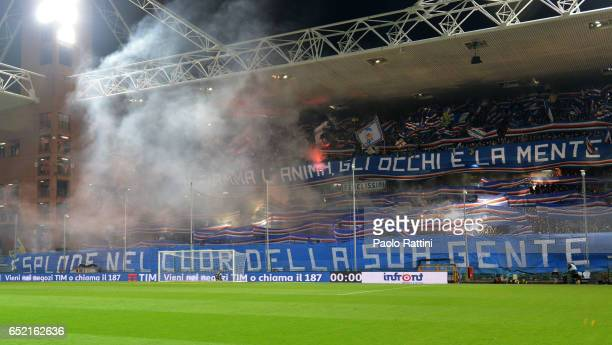 Sampdoria supporters during the Serie A match between Genoa CFC and UC Sampdoria at Stadio Luigi Ferraris on March 11 2017 in Genoa Italy