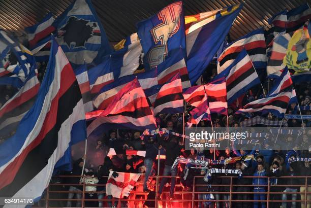 Sampdoria supporters during the Serie A match between UC Sampdoria andv Bologna FC at Stadio Luigi Ferraris on February 12 2017 in Genoa Italy
