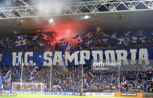 Sampdoria supporters during the serie A match between UC Sampdoria and Genoa CFC at Stadio Luigi Ferraris on April 7 2018 in Genoa Italy