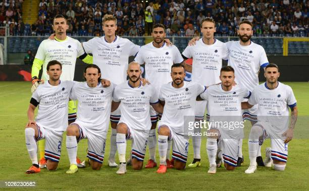 Sampdoria Team wearing a tshirt to commemorate the death of 43 people in the Morandi Bridge collapse before the serie A match between UC Sampdoria...