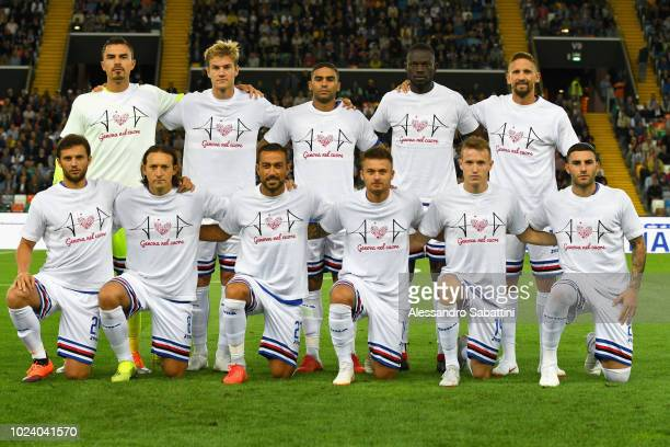 Sampdoria team wears a tshirt for the victims of Genoa's Morandi Bridge collapse before the serie A match between Udinese and UC Sampdoria at Stadio...