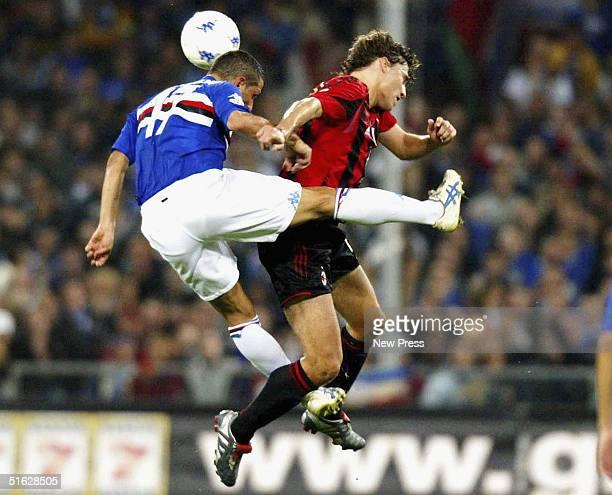 Sampdoria's Angelo Palombo challenges Milan's Hernan Crespo during the Italian Serie A match between Sampdoria and AC Milan at Stadio Luigi Ferraris...